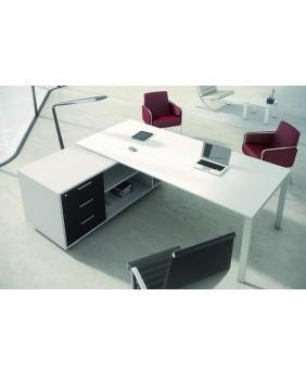 Mesa de oficina Ipop acabado alto brillo Luxe con mueble ala