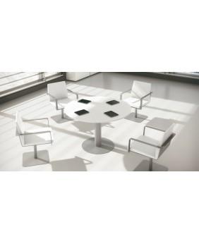 Mesa reuniones circular con pata metálica
