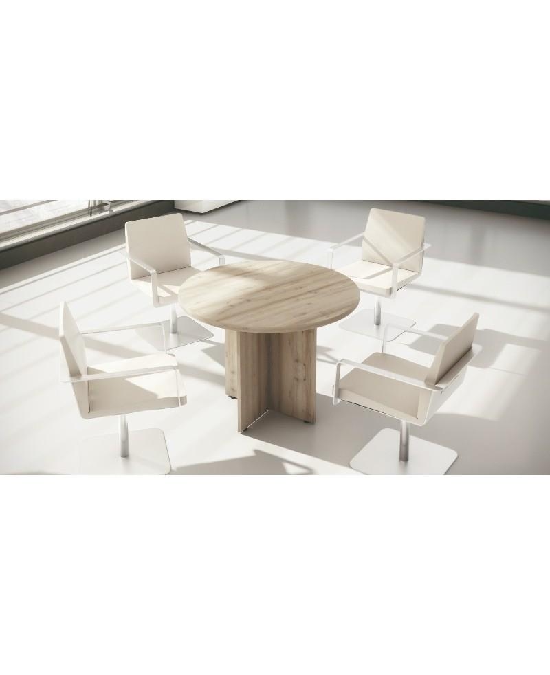Mesa reuniones circular con pata de cruz