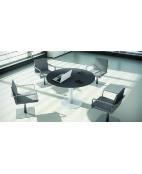 mesa de reunión circular acabado alto brillo luxe