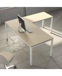 Mesa de oficina Ipop acabado aspecto madera con extensión ala