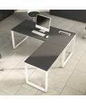 Mesa de oficina Opop acabado alto brillo Luxe con extensión ala