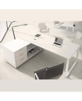 Mesa de oficina Opop acabado alto brillo Luxe con mueble ala