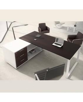 Mesa de oficina con mueble ala OPOP bilaminada