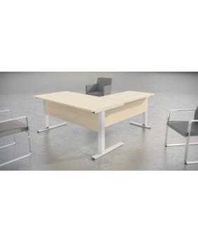 Mesa de oficina Log in Extensión L con acabado aspecto madera