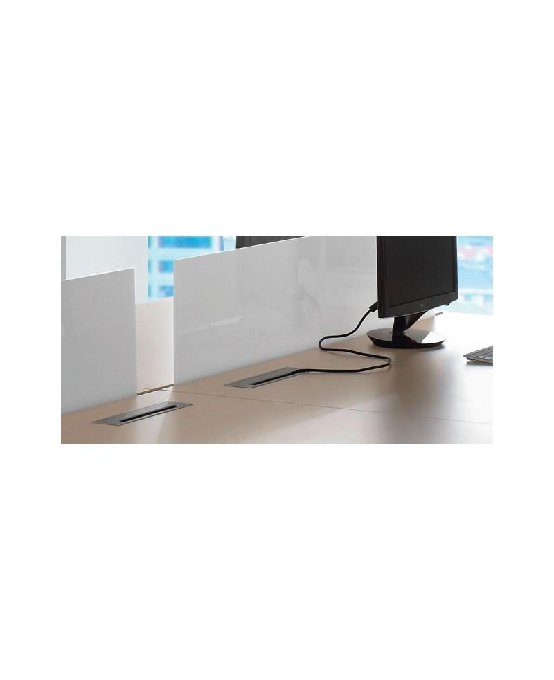 Pasacables rectangular con cepillo para mesa de oficina